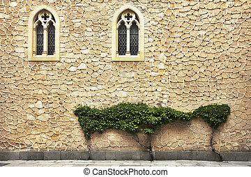 bâtiment, mur, ancien