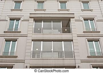 bâtiment, mur, appartement, extérieur