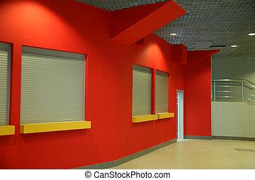 bâtiment, mur, bureau, rouges, intérieur