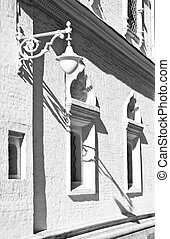 bâtiment, mur, lampe, ancien