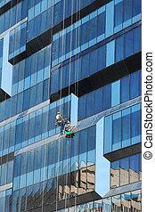 bâtiment, nettoyeurs, fenêtre, business, nouveau