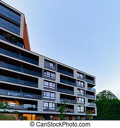 bâtiment, nouveau, appartement, architecture