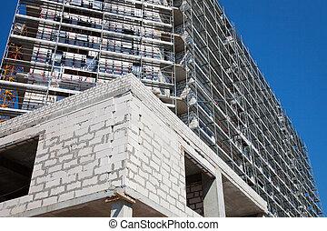 bâtiment, nouveau, appartement, construction., sous