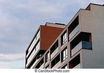 bâtiment, nouveau, appartement, luxe, extérieur