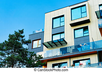 bâtiment, nouveau, appartement, moderne, extérieur