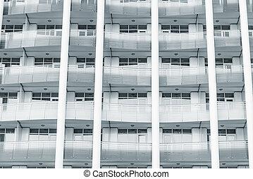 bâtiment., nouveau, bureau, balcons