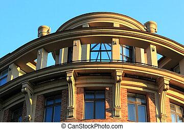 bâtiment, nouveau, style, détail, classique