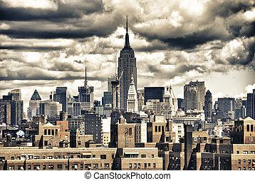 bâtiment, nyc, état, horizon, empire
