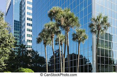 bâtiment, orlando, usa, moderne, détail, architectural, floride