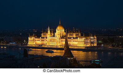 bâtiment, parlement, éclairé, hongrois, national, nuit