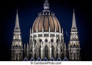 bâtiment, parlement, détail, nuit, hongrie, budapest