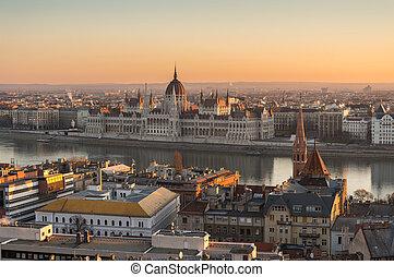 bâtiment, parlement, hongrois, levers de soleil