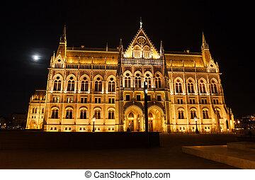 bâtiment, parlement, hongrois, lune, entiers, nuit