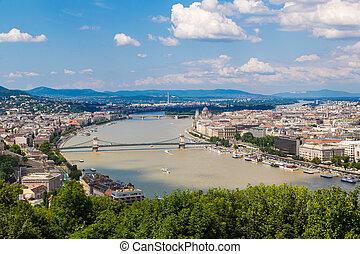 bâtiment, parlement, hongrois, vue