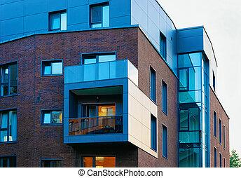 bâtiment, plat, appartement, moderne, extérieur, nouveau