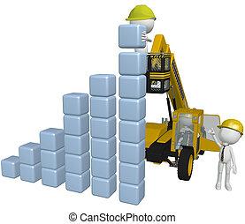 bâtiment, professionnels, diagramme, équipement, construction