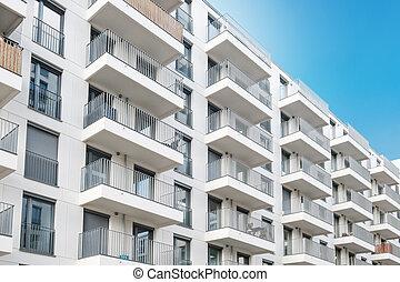 bâtiment, propriété, nouveau, façade, extérieur, appartement, vrai