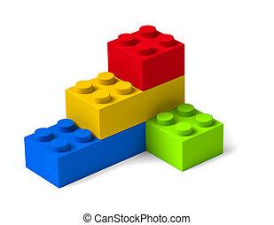 bâtiment, quatre, briques, 3d, coloré, blocs jouet