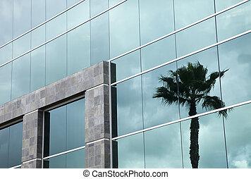 bâtiment, réflecteur, dramatique, constitué