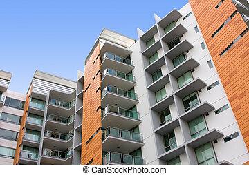 bâtiment, résidentiel, appartement, moderne