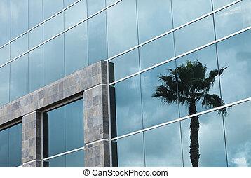 bâtiment, reflet, résumé, arbre, paume, constitué