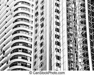 bâtiment, usa, moderne, miami, ville, amérique, floride