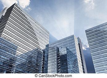 bâtiment, verre, ciel dramatique