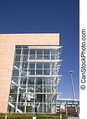 bâtiment, verre, marbre, vestibule