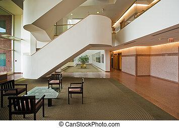 bâtiment, vestibule, bureau