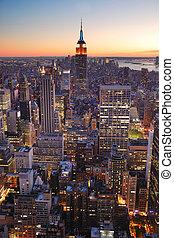 bâtiment, ville, état, york, nouveau, empire, manhattan