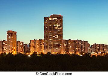 bâtiments, appartement, coucher soleil, time., extérieur