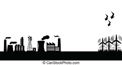 bâtiments, industriel, turbines, vent