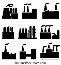 bâtiments, industriel, usine, pollution