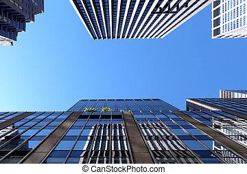 bâtiments, moderne, fond, gratte-ciel, bureau