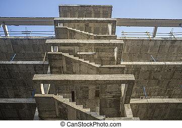 béton, structure., escalier, quatrième, plancher