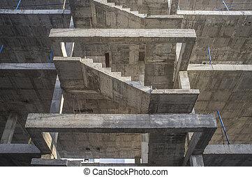 béton, structure., escalier, troisième, plancher