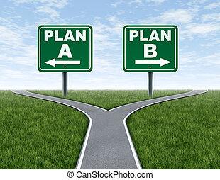 b, croix, plan, signes, routes, route