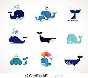 baleine, vecteur, collection, icônes