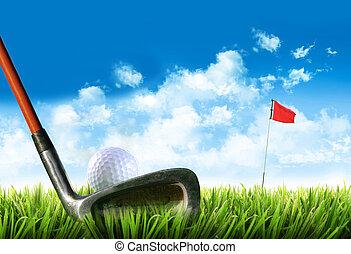 balle golf, herbe, tee