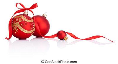 balles, isolé, arc, décoration, ruban, fond, noël blanc, rouges