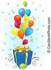balloon, carte anniversaire, cadeau