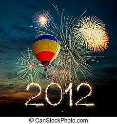 balloon, feux artifice, air, chaud, coucher soleil, année, nouveau, 2012