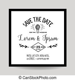 balloon, invitation, -, air, thème, vecteur, mariage, date, sauver, carte