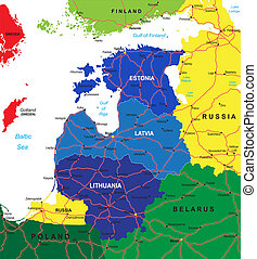baltique, carte, etats