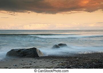 baltique, soir, mer