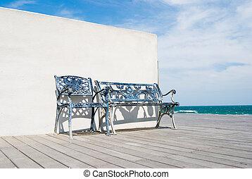 banc bois, plage., plancher