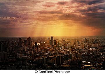 bangkok, ville, vue aérienne