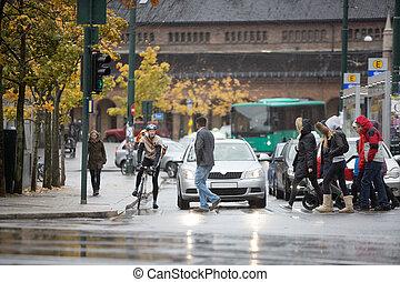 banlieusards, attente, véhicules, rue, croix