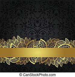 bannière, doré, papier peint, noir