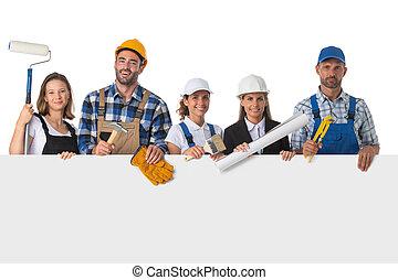 bannière, ouvriers, industriel, groupe